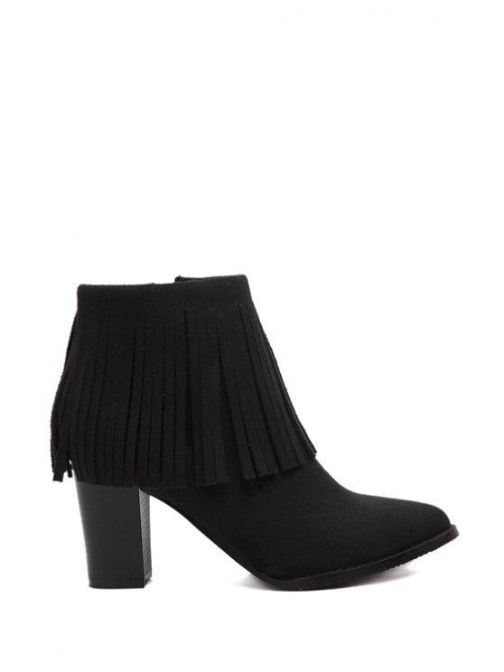 trendy Flock Fringe Chunky Heel Short Boots - BLACK 37
