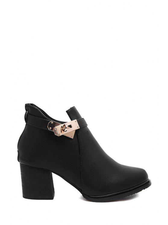 ladies Hasp Solid Color Chunky Heel Ankle Boots - BLACK 35
