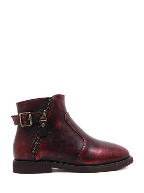 latest Zipper Buckle Flat Heel Short Boots - RED 38