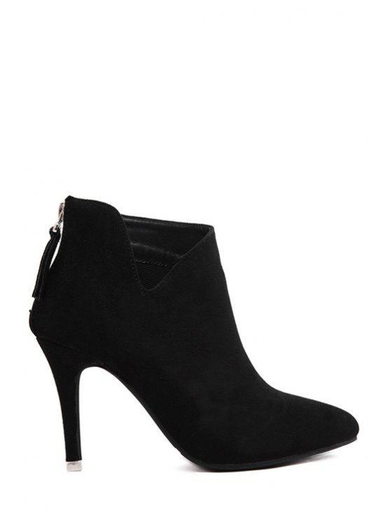 unique Suede Pure Color Pointed Toe Ankle Boots - BLACK 35
