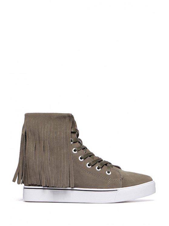 unique Lace-Up Suede Fringe Short Boots - KHAKI 35
