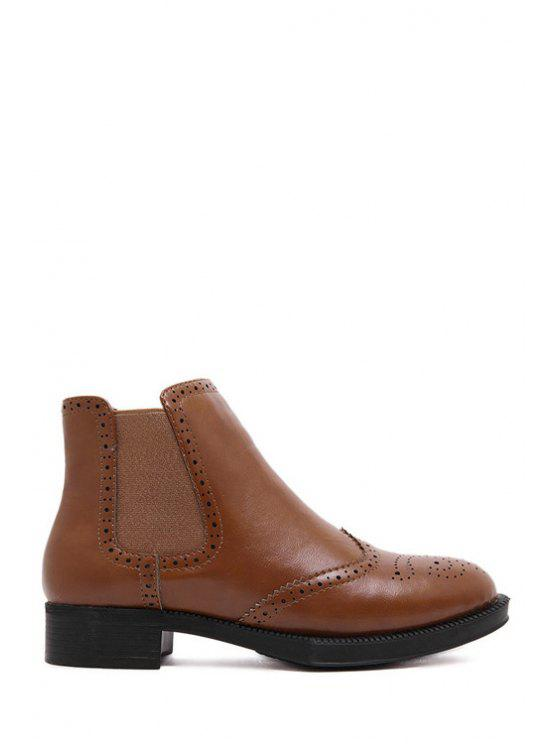 buy Elastic Engraving Solid Color Short Boots - BROWN 35