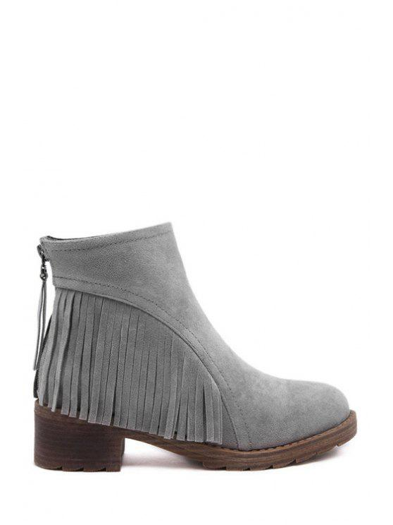 outfit Suede Fringe Pure Color Short Boots - GRAY 35