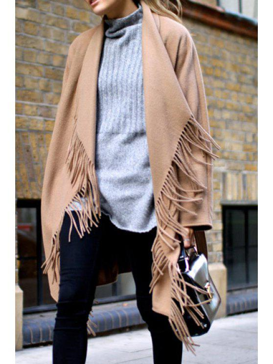 shop Solid Color Tassels Irregular Hem Turn-Down Collar Coat - KHAKI XS