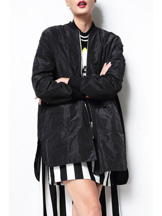 shop Pure Color High Low Stand Neck Coat - BLACK ONE SIZE(FIT SIZE XS TO M)