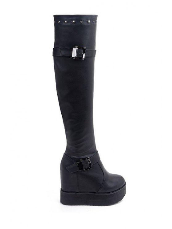 new Platform Rivet Buckles Knee-High Boots - BLACK 34