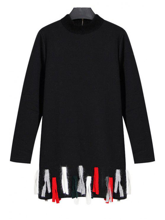 affordable Colored Tassels Stand Neck Long Sleeve Sweatshirt - BLACK S