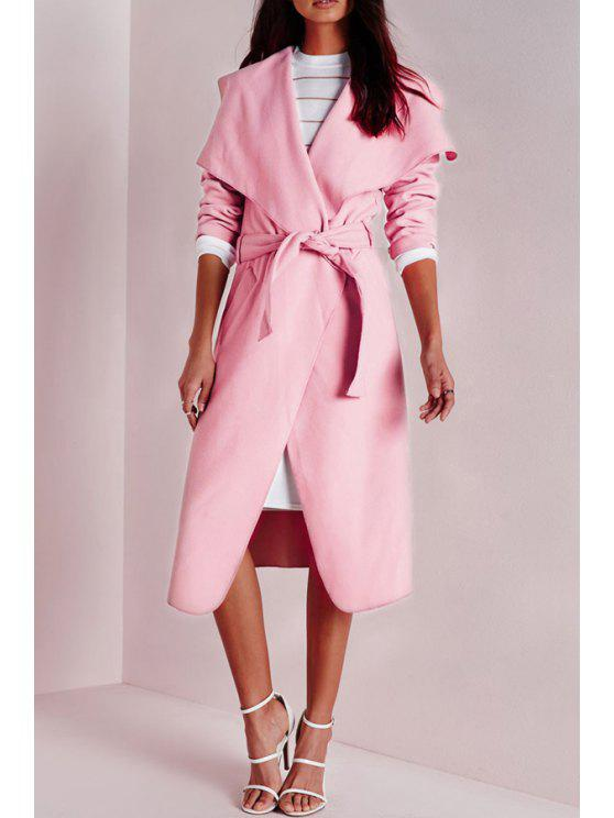 online Solid Color Turn Down Collar Long Sleeves Coat - PINK XS