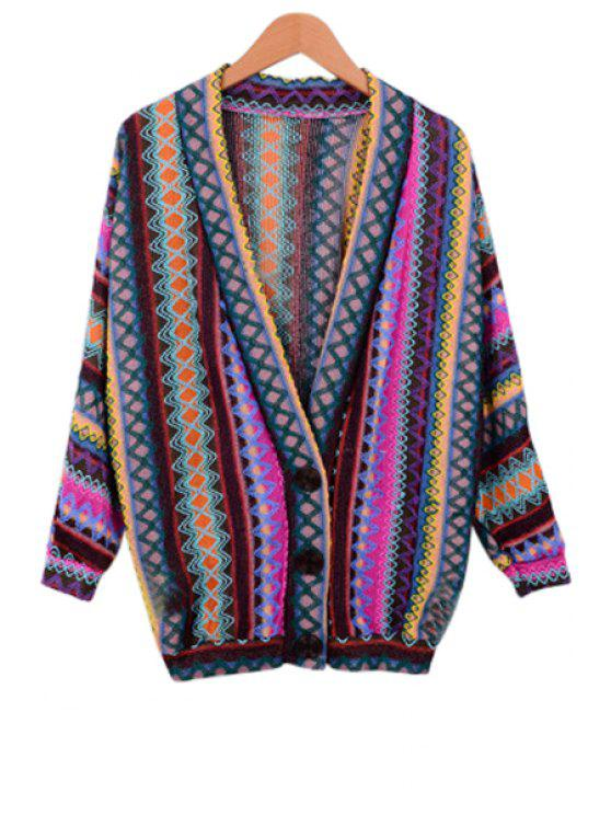 V-Neck Long Sleeve Colorful Cardigan PURPLE: Sweaters ONE SIZE(FIT ...
