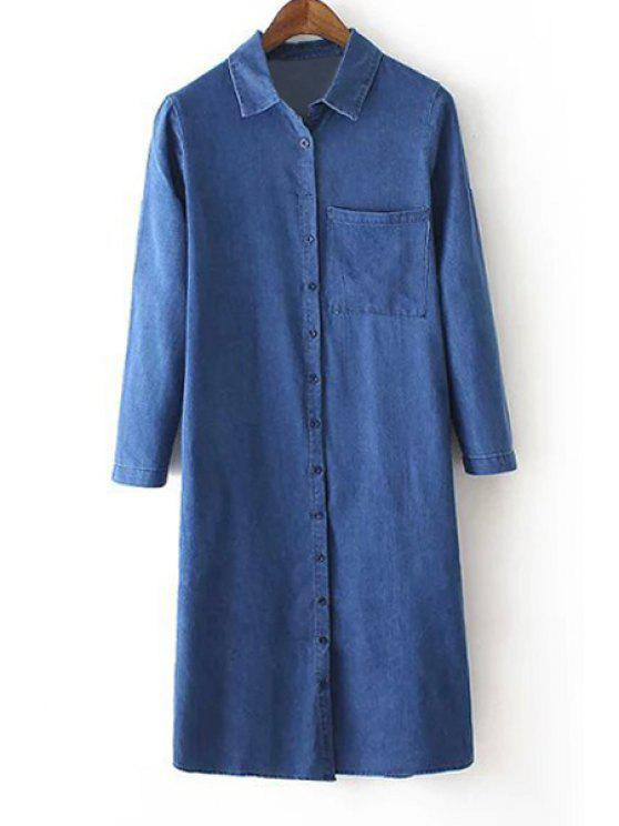 buy Solid Color Long Bleach Wash Flat Collar Denim Shirt - BLUE S