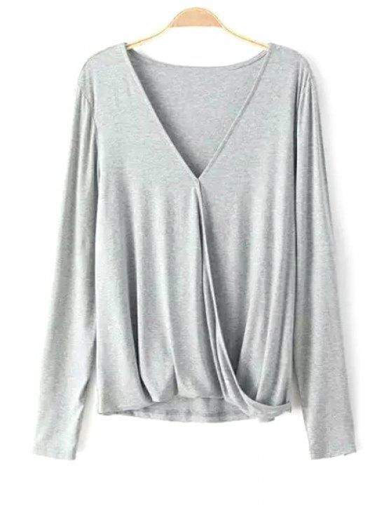 fashion Solid Color Crossed V-Neck Long Sleeves T-Shirt - GRAY S
