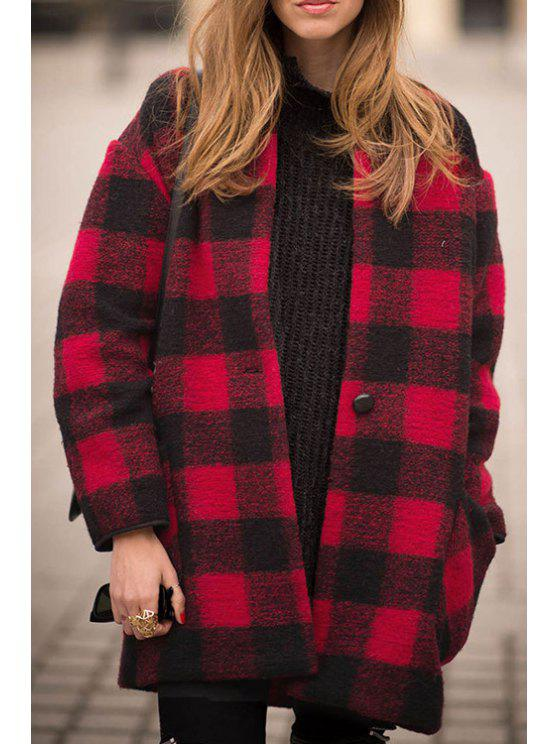 chic Stand Neck Long Sleeve Plaid Wool Coat - RED S