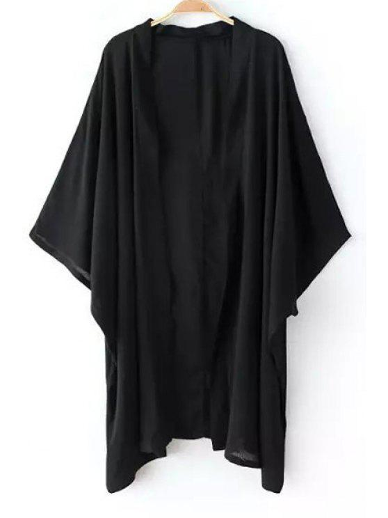 outfits Solid Color Loose Fitting Batwing Sleeves Kimono Coat - BLACK S