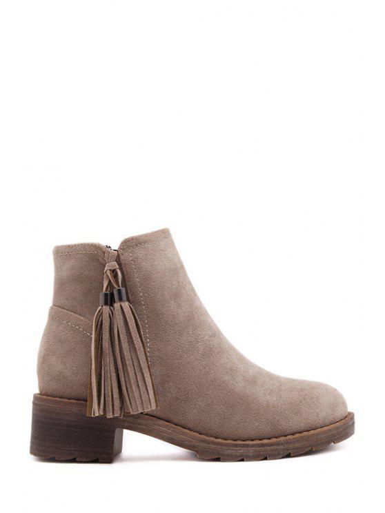 trendy Suede Tassel Solid Color Short Boots - KHAKI 35