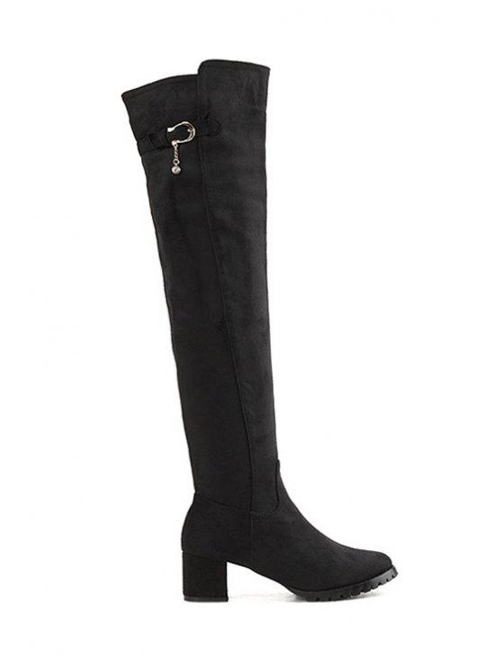 affordable Chunky Heel Buckle Suede Thigh Boots - BLACK 35
