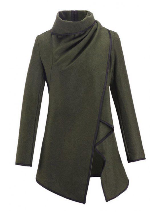 outfits Large Lapel Button Design Piped Trench Coat - ARMY GREEN S