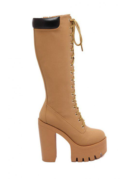chic Suede Platform Lace-Up High Heel Boots - APRICOT 35
