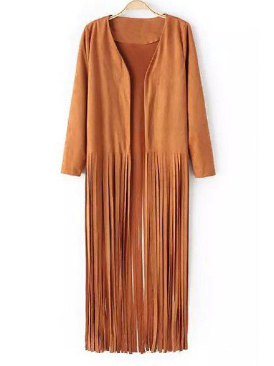 chic Solid Color Suede Tassels Long Sleeves Coat - KHAKI S