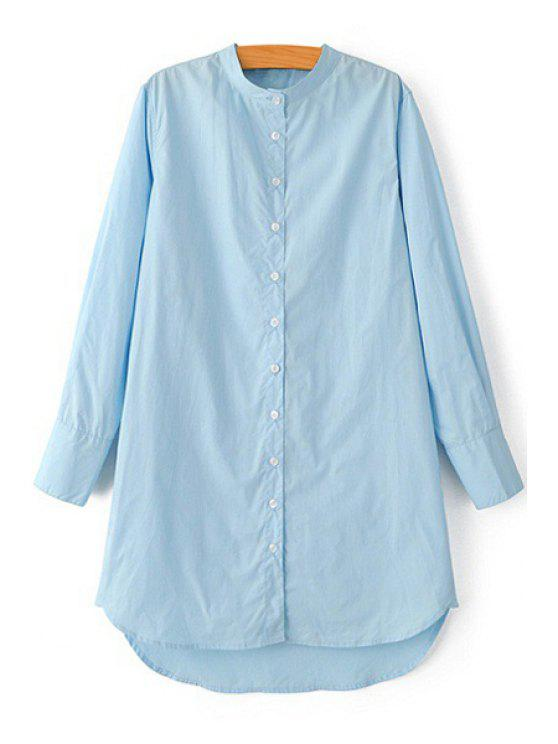 lady Stand Neck Pure Color Long Sleeve Shirt - BLUE S