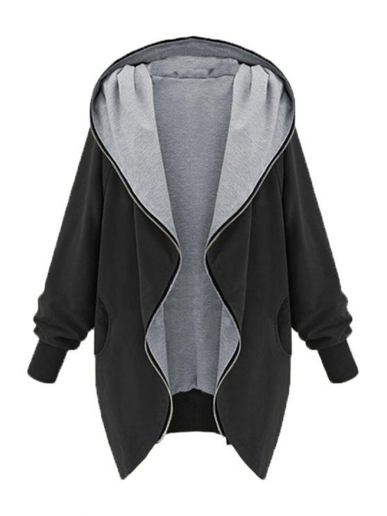 shop Zip Up Loose Fit Hoodie - BLACK S