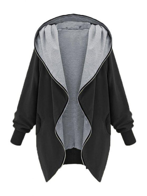 shop Zip Up Loose Fit Hoodie - BLACK S
