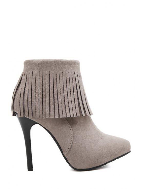 women's Fringe Pointed Toe Suede Short Boots - GRAY 34