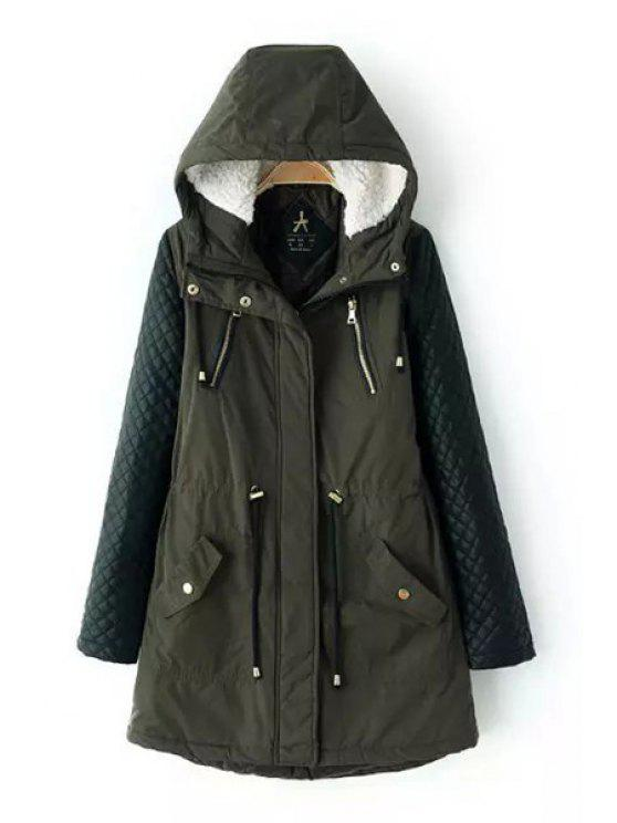 affordable PU Leather Spliced Hooded Long Sleeves Padded Coat - GREEN M