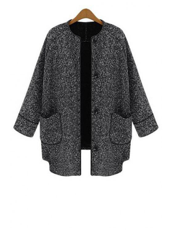 womens Round Neck Pocket Design Wool Coat - GRAY S