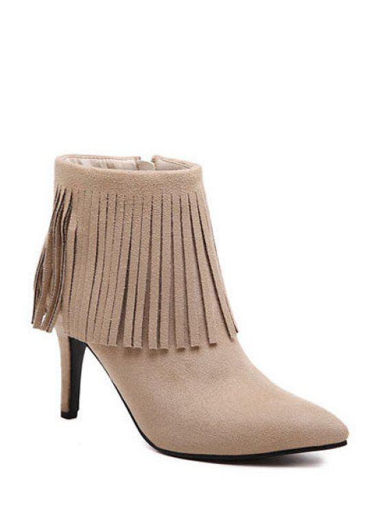 women Solid Color Fringe Pointed Toe Short Boots - APRICOT 34