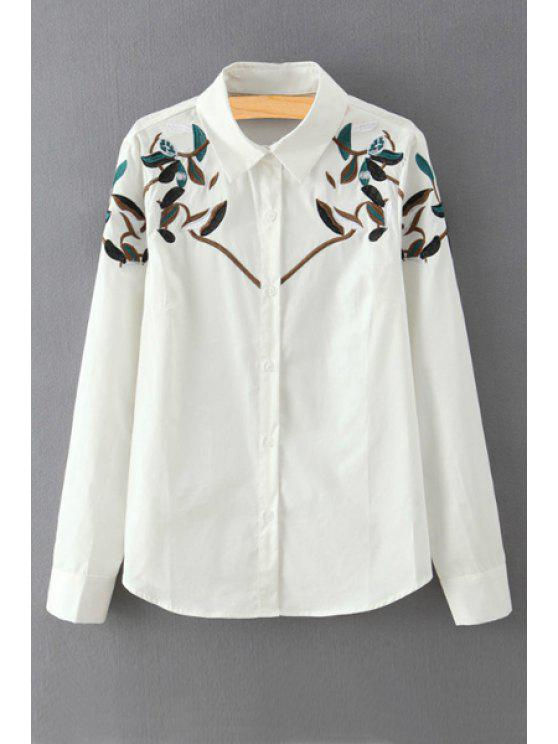 women's Embroidery Print Flat Collar Long Sleeves Shirt - WHITE S
