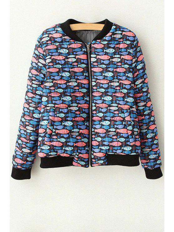 unique Full Fish Print Stand Neck Long Sleeve Jacket - BLACK S