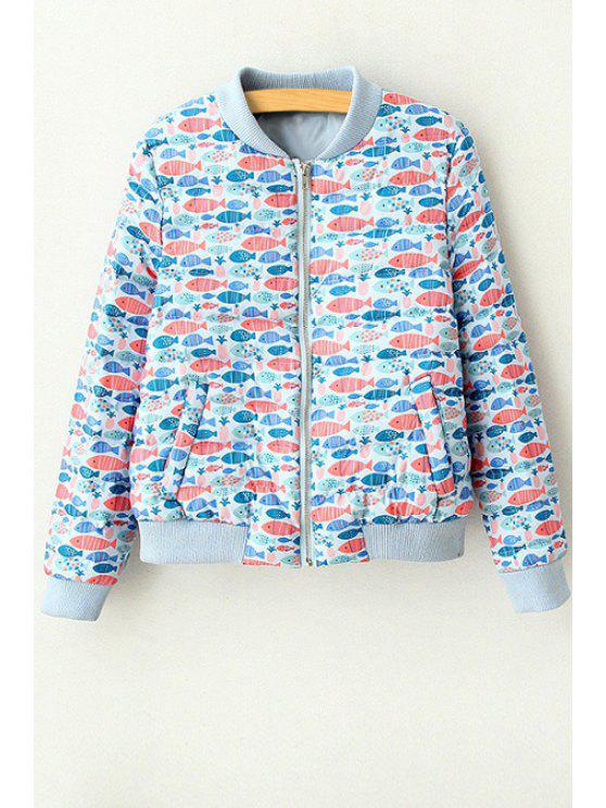 womens Full Fish Print Stand Neck Long Sleeve Jacket - BLUE M
