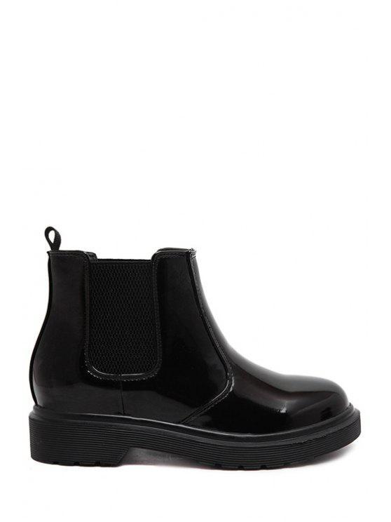 shop Black Patent Leather Elastic Short Boots - BLACK 36
