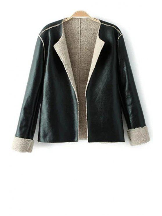 online PU Leather Fleece Turn Down Collar Jacket - BLACK S