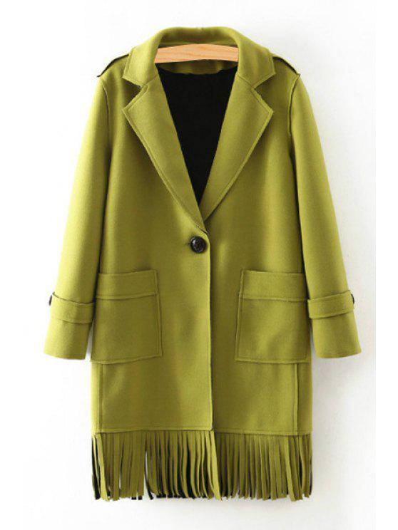lady Solid Color Pockets Turn-Down Collar Coat - GREEN L
