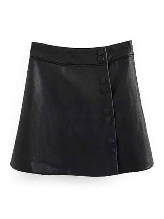 women Black Faux Leather A Line Skirt - BLACK L