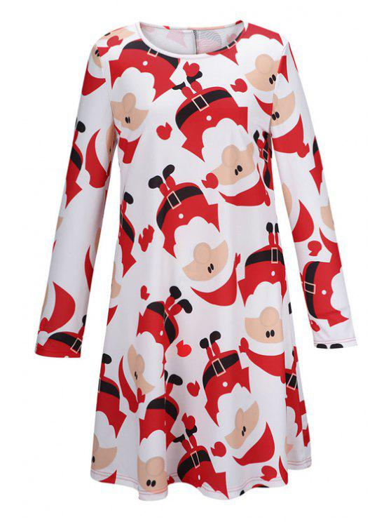latest Santa Claus Print Fit and Flare Dress - WHITE M