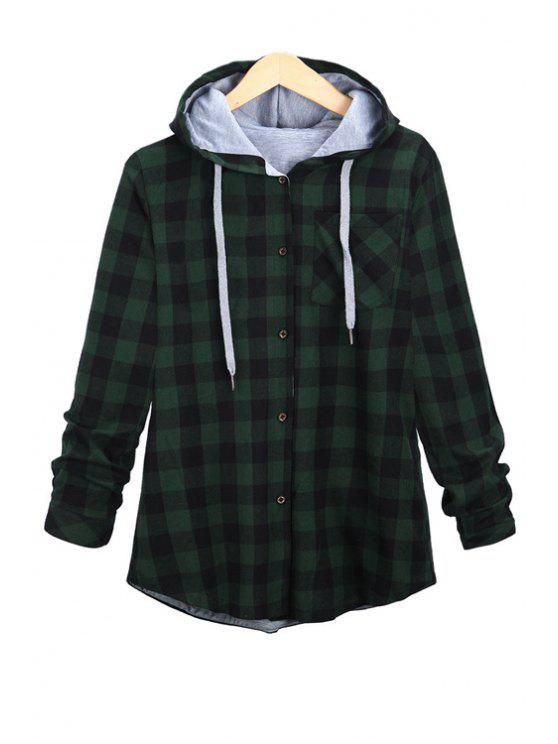 ladies Long Sleeve Plaid Single-Breasted Hoodie - GREEN S