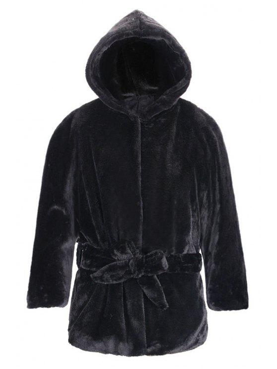 best Hooded Self-Tie Belt Fuzzy Coat - BLACK S