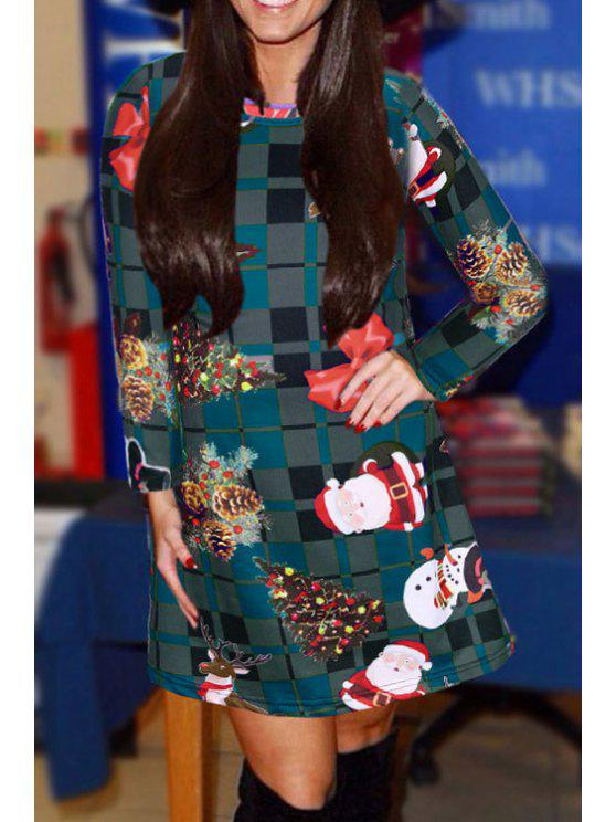 fancy Long Sleeve Plaid Christmas Dress - COLORMIX S
