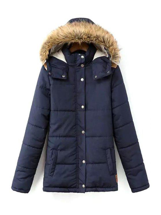 shops Solid Color Hooded Long Sleeves Padded Coat - CADETBLUE S