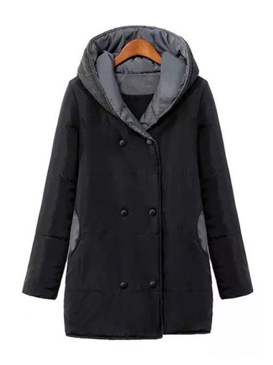 fancy Hooded Sweater Spliced Long Sleeves Padded Coat - BLACK S