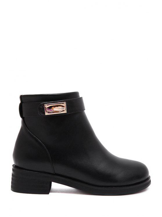 womens Zipper Metal Pure Color Short Boots - BLACK 35