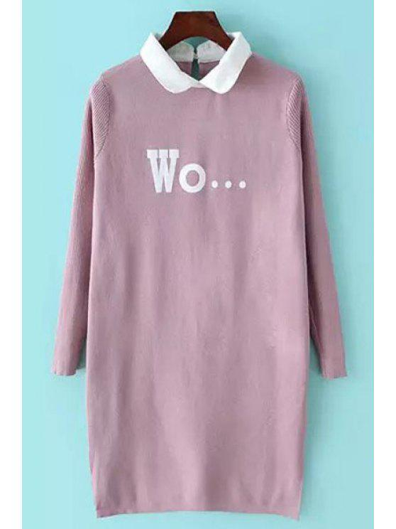outfit Letter Pattern Side Slit Long Sweater - PINK ONE SIZE(FIT SIZE XS TO M)