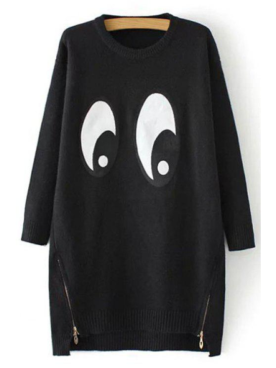 sale Cartoon Eyes Pattern Long Sweater - BLACK ONE SIZE(FIT SIZE XS TO M)