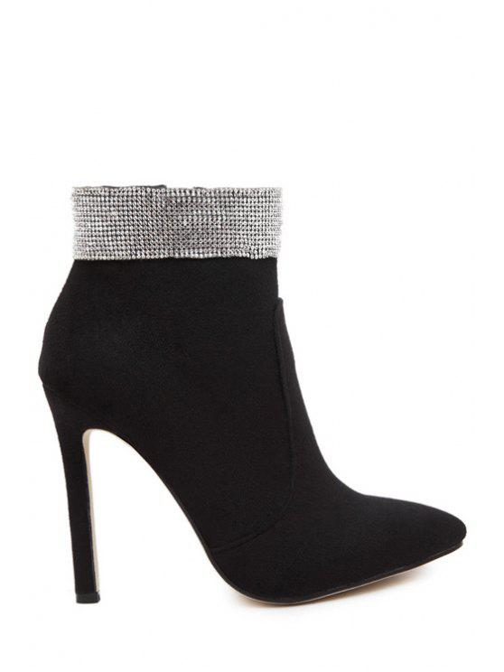 unique Solid Color Rhinestone Pointed Toe Ankle Boots - BLACK 35