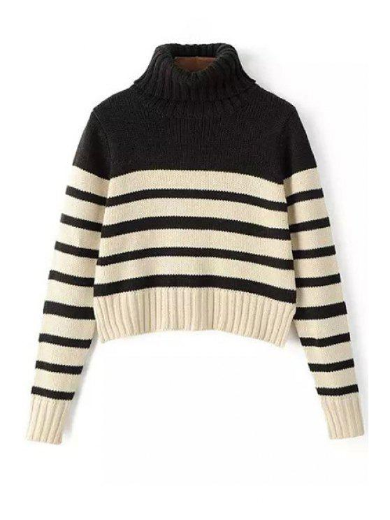 hot Turtleneck Long Sleeve Striped Jumper - WHITE AND BLACK S