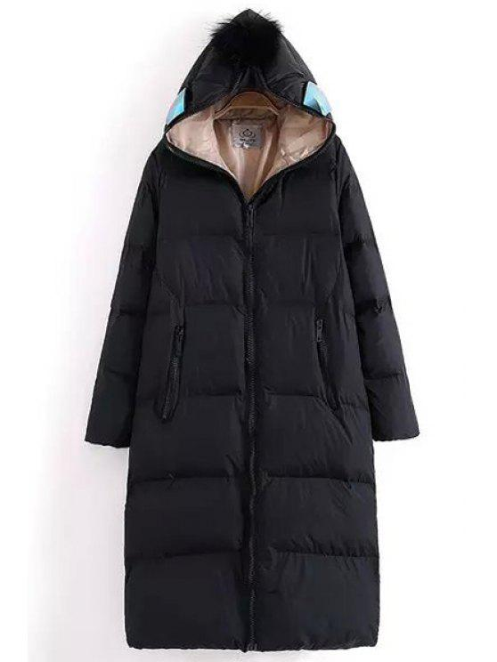 outfits Hooded Glasses Design Quilted Coat - BLACK L