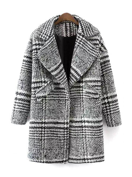 hot Checked Turn Down Collar Long Sleeves Woolen Coat - WHITE AND BLACK S