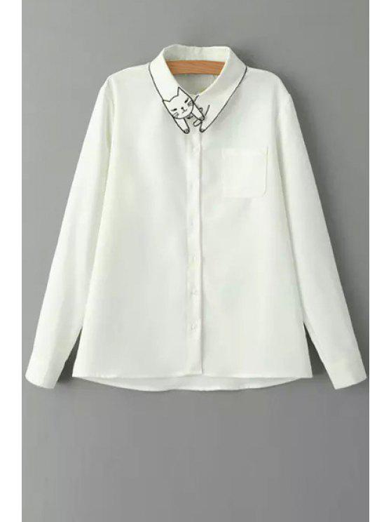 shops Kitten Embroidered White Shirt - WHITE XS